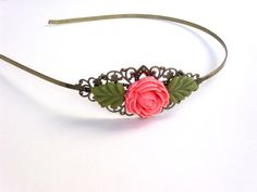 Brass headband with pink roseand leaves resin cabochon