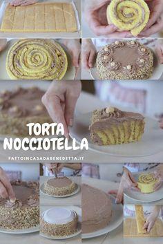 La torta nocciotella. Un dolce dal cuore morbido e cremoso, una specie di rotolo alla Nutella ma fatta in modo diverso.