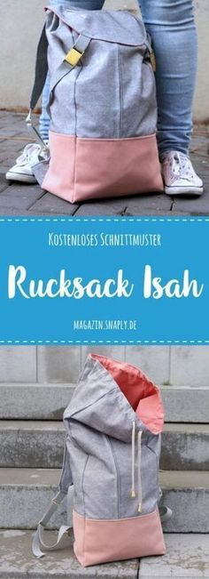"""Free sewing pattern: sew the backpack """"Isah""""- Kostenloses Schnittmuster: Rucksack """"Isah"""" nähen Free Pattern: Backpack Isah - Easy Sewing Projects, Sewing Projects For Beginners, Sewing Hacks, Sewing Tutorials, Sewing Tips, Sewing Patterns Free, Free Sewing, Free Pattern, Pattern Sewing"""
