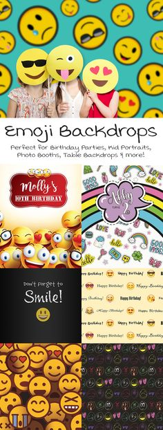 Emoji / Emoticon Backdrops from Backdrop Express - Perfect for Birthday Parties Photo Booths & more! Birthday Table, Diy Birthday, Birthday Emoji, Birthday Parties, Happy Birthday, Candy Party Favors, Sweetest Day, Photographing Kids, Party Photos