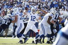 NASHVILLE, TN - OCTOBER 23: Andrew Luck #12 of the Indianapolis Colts passes against the Tennessee Titans in the first quarter of the game at Nissan Stadium on October 23, 2016 in Nashville, Tennessee.  (4500×3000)