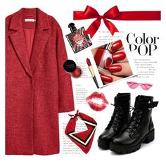 """Christmas happy coat"" by ruchirich ❤ liked on Polyvore featuring Quay, Concrete Minerals, Yves Saint Laurent and statementcoats"