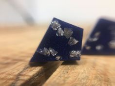 Diamond shaped stud earrings in Denim blue resin with crushed glass Handmade geometric earrings made from pigmented resin with surgical steel posts. Diamond Studs, Diamond Shapes, Diamond Earrings, Stud Earrings, Resin Jewellery, Jewelry Art, Studded Denim, Irish Jewelry, Crushed Glass