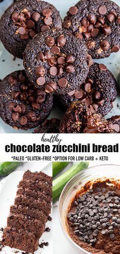 This Healthy Double Chocolate Zucchini Bread is soft, moist and the perfect delicious breakfast or snack to use up your summer garden zucchini. This quick bread recipe is easy to make with almond flour, maple syrup and bursting with a rich Blueberry Quick Bread, Healthy Chocolate Zucchini Bread, Paleo Zucchini Bread, Easy No Bake Desserts, Healthy Dessert Recipes, Yummy Snacks, Healthy Baking, Paleo Recipes, Gluten Free Treats