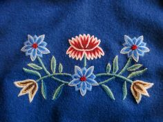 Detail from my bunad, Nordlandsbunad Folk Costume, Costumes, Embroidery Suits Design, Wool Embroidery, Gourds, Norway, Needlework, Diy And Crafts, Applique