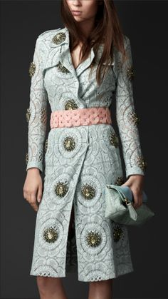 Gem-Embellished Lace Trench Coat | Burberry