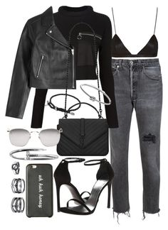 """Untitled #20341"" by florencia95 ❤ liked on Polyvore featuring RE/DONE, MM6 Maison Margiela, T By Alexander Wang, NYX, Yves Saint Laurent, Stuart Weitzman, Linda Farrow, LULUS, Michael Kors and David Yurman"