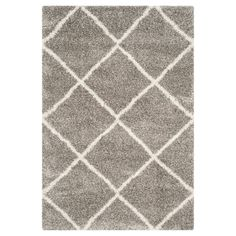 Safavieh Hudson Shag Collection Beige and Ivory Moroccan Diamond Trellis Area Rug x Grey Rugs, Beige Area Rugs, Flokati Rugs, Shag Rugs, Modern, Contemporary, Accent Rugs, Joss And Main, Power Loom