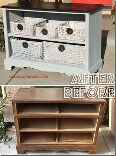 I have a dresser without drawers right now that I am thinking of doing something similar or turning into a wine cabinet!!!