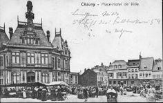 Place de l'hôtel de ville de Chauny avant la Première Guerre Mondiale #CHAUNY #AISNE #PICARDIE
