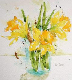 daffodils, flowers, yellow, green, watercolor, painting, fine art, Lisa Livoni, Napa Valley artist, colorist