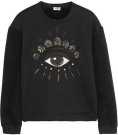 Eye Embellished Neoprene-effect and Fleece Sweatshirt - Lyst