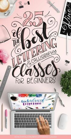 25 best lettering and calligraphy classes Check out some of the best online Lettering and Calligraphy classes for beginners. From traditional to modern calligraphy and lettering. Hand Lettering For Beginners, Calligraphy For Beginners, Hand Lettering Tutorial, Hand Lettering Fonts, Calligraphy Handwriting, Creative Lettering, Lettering Styles, Calligraphy Letters, Brush Lettering