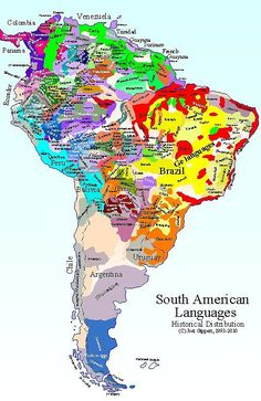 South America languages by Josh Gippert #map #southamerica