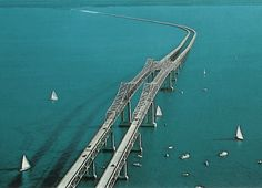 Aerial view of the old Sunshine Skyway. It was tall enough for tanker boats to pass underneath without stopping traffic. Until that fateful day...
