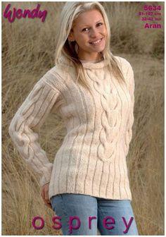 Tunics in Wendy Osprey Aran Digital Version Tunic Pattern, Top Pattern, Knitting Projects, Knitting Patterns, Funky Fashion, Knit Crochet, Tunic Tops, Tunics, Pullover