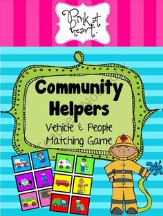 Community Helpers - Vehicle and People Matching Game from Pink at heart on TeachersNotebook.com (4 pages)