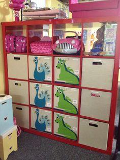 Organized kids shelves