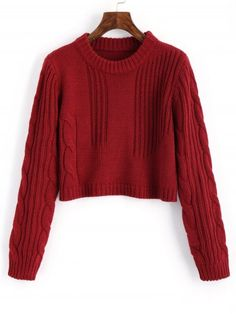 Cable Knit Panel Pullover Cropped Sweater - WINE RED ONE SIZE