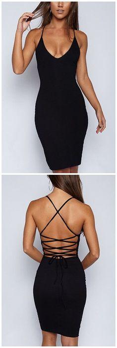 Black Sexy V-neck Open Back Dress