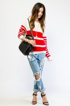 G Stage - Cozy Ribbed Knit Striped Sweater - $9.99  I like this entire outfit too