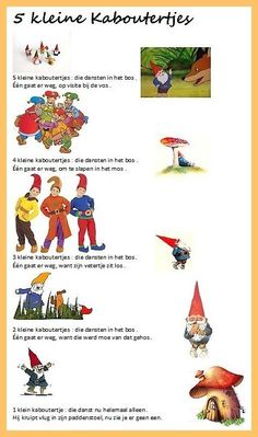 Verhaaltje : 5 kleine kaboutertjes Elves, Homeschool, Songs, Children, Fall, Gnomes, Leprechaun, Projects To Try, Hand Spinning
