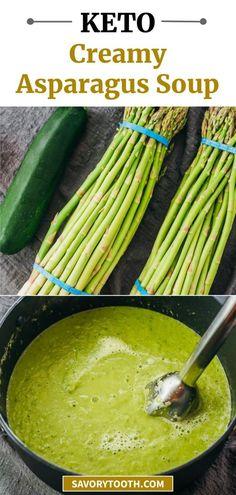 Low Carb Soup Recipes, Chowder Recipes, Real Food Recipes, Keto Recipes, Vegetarian Recipes, Dinner Recipes, Delicious Recipes, Creamy Asparagus, Asparagus Soup