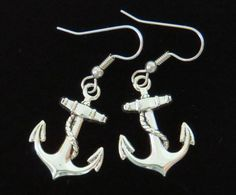 Anchor Earrings Large Oxidized Matte Silver Ships Captain Sailor Nautical Sailing Boat Pirate Sea Beach Ocean Sloop Gift Jewelry ES478 by NostalgicCharm on Etsy