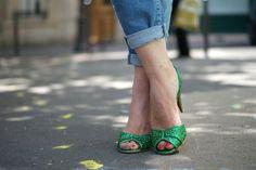 escarpins verts paillettes