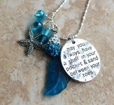 Striking Dark Teal Seaglass Leaf Silver Necklace by InaraJewels, $32.00