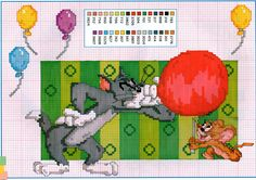 Tom e Jerry Beaded Cross Stitch, Counted Cross Stitch Patterns, Cross Stitch Charts, Cross Stitch Embroidery, Tom Og Jerry, Cartoon Movies, Cartoon Characters, Stitch Cartoon, Le Point