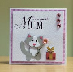 Mother's Day Card, Handmade - Marianne cat die. For more of my cards please visit CraftyCardStudio on Etsy.com.