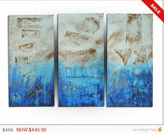 Triptych painting Modern Abstract - Royal Blue, #art #painting @EtsyMktgTool http://etsy.me/2ijl9aI