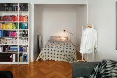 love the bedroom nook in this studio...