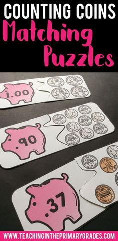 Counting Coins Matching Puzzles- These puzzles are a great alternative to using money worksheets in your classroom.  First graders will love this hands on activity for practicing counting coins.  They can be used in a math center or for fast finishers.