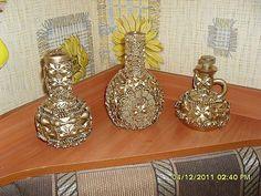 Поделки из макарон. Pasta Crafts, Arts And Crafts, Diy Crafts, Decorative Bells, Repurposed, Candle Holders, Perfume Bottles, Place Card Holders, Joy