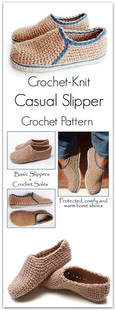 Crochet Projects Design Crochet slippers with a knit look! This special stitch give a classic touch to this simple design. Fast and fun to work. Crochet Slipper Pattern, Knitted Slippers, Crochet Slippers, Crochet Patterns, Diy Crochet, Crochet Baby, Shoe Pattern, Crochet Accessories, Knitting Socks