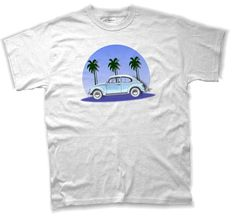 VW Beetle T Shirt with Palm Trees in Blue SMLXL White by TJaysTees, $18.00