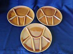 Niderviller France Gold/Brown Tone Vintage Majolica Fondue Plates