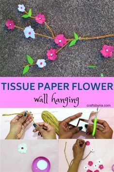 Beautiful spring decor craft idea to do with kids. Perfect craft for adults to do with kids. Make this tissue paper flower wall hanging with your preschoolers, kindergarteners, elementary school kids, teens and tweens. DIY branch mobile. #springcrafts #springcraftsforkids