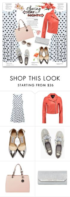 """""""Spring Day to Night"""" by kellylynne68 ❤ liked on Polyvore featuring WithChic, T By Alexander Wang, Jimmy Choo, Kate Spade, MICHAEL Michael Kors, Natasha Accessories, Christian Dior, DayToNight, Spring and PolkaDots"""