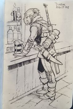 """""""At the airport sketching people. Turned a person at a counter into a tavern customer"""" Fantasy Character Design, Character Drawing, Character Design Inspiration, Character Concept Art, Animation Character, Game Character, Dnd Characters, Fantasy Characters, Poses References"""