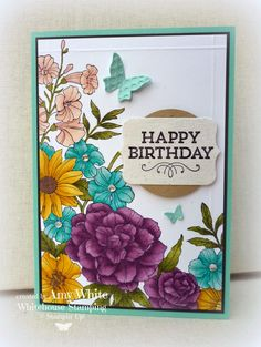 Blended Corner Garden with Blendabilities markers from Stampin' Up! Hand Made Greeting Cards, Making Greeting Cards, Greeting Cards Handmade, Scrapbooking, Scrapbook Cards, Card Making Inspiration, Making Ideas, Corner Garden, Stamping Up Cards