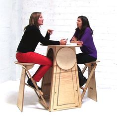 QMB combines a round bar height table with four by QuadMicroBar, $900.00
