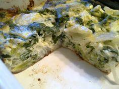 Crustless Onion, Spinach and Broccoli Quiche Recipe