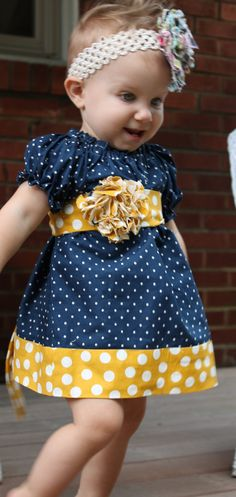 Girls Peasant Dress Navy Blue and Yellow by MadilynnsBoutique, $35.00