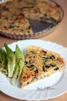 quiche with spinach, leek and bacon Baby Food Recipes, Cooking Recipes, Cooking Ideas, Quiche Lorraine, Baby Spinach, Pizza, Bacon, Goodies, Easy Meals