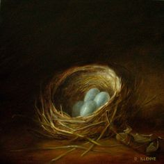 JEANNE ILLENYE - Still Lifes: nest painting classical oil blue eggs leaf