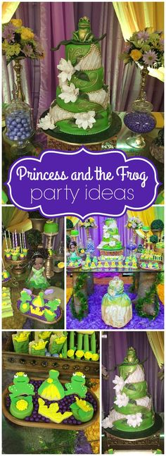 Lenni U's Birthday / Princess and the Frog - Princess Tiana at Catch My Party Frog Birthday Party, Birthday Party Themes, Girl Birthday, Birthday Ideas, Princesa Tiana, Frog Princess, Disney Princess Birthday, Princess Games, Frog Baby Showers