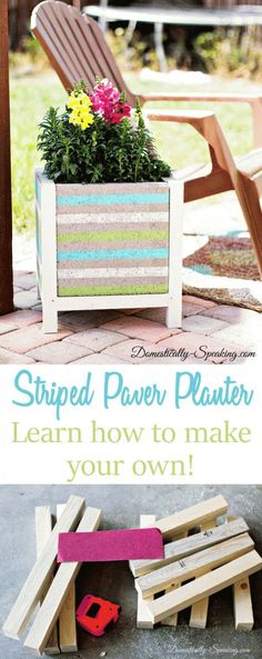 Beachy Striped Paver Planter - Learn how to make your own with this great tutorial! #ad